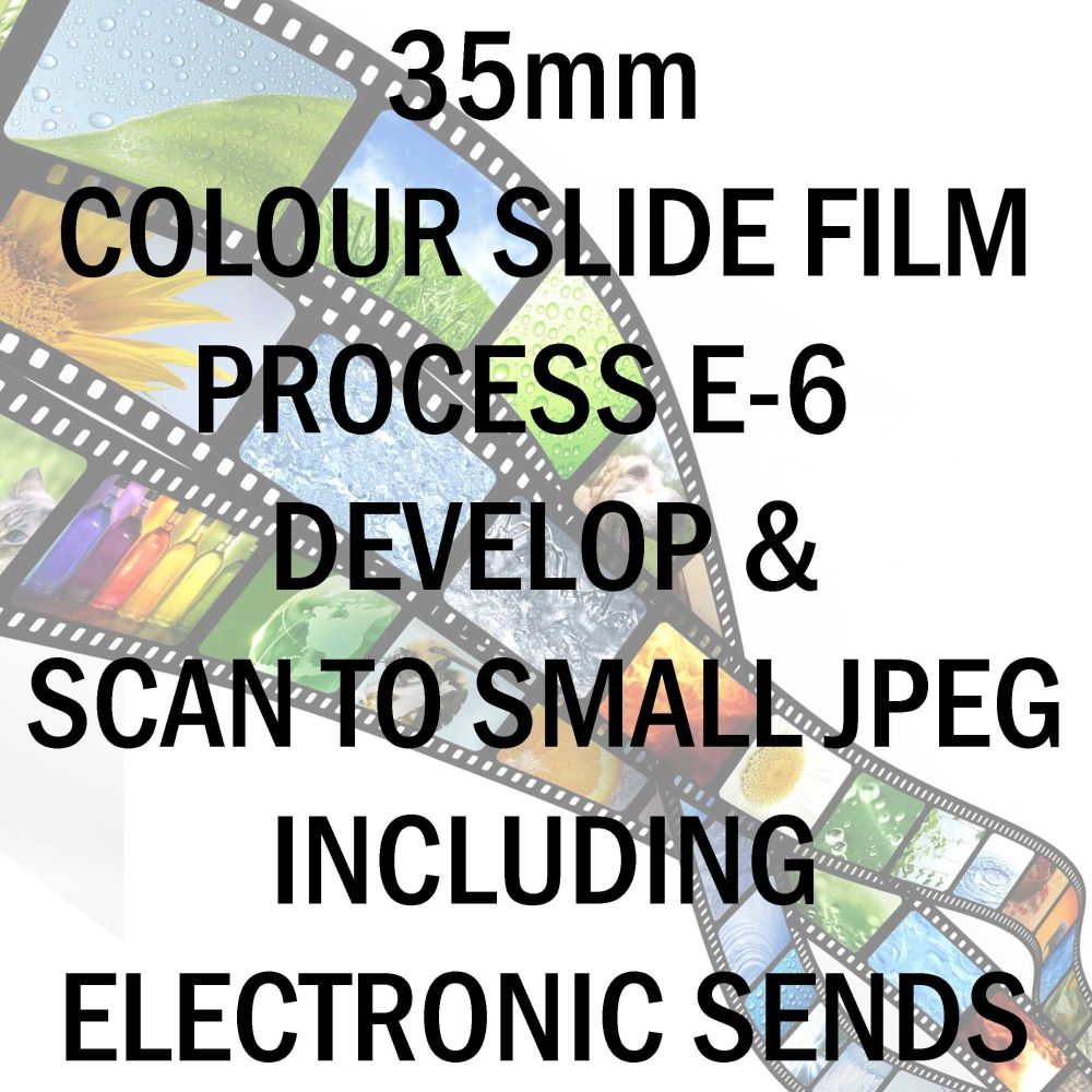 35mm COLOUR SLIDE FILM E-6 DEVELOP AND SCAN TO SMALL JPEG C-D INCLUDING ELE