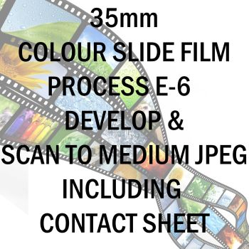35mm COLOUR SLIDE FILM E-6 DEVELOP AND SCAN TO MEDIUM JPEG C-D INCLUDING 10X8 CONTACT SHEET