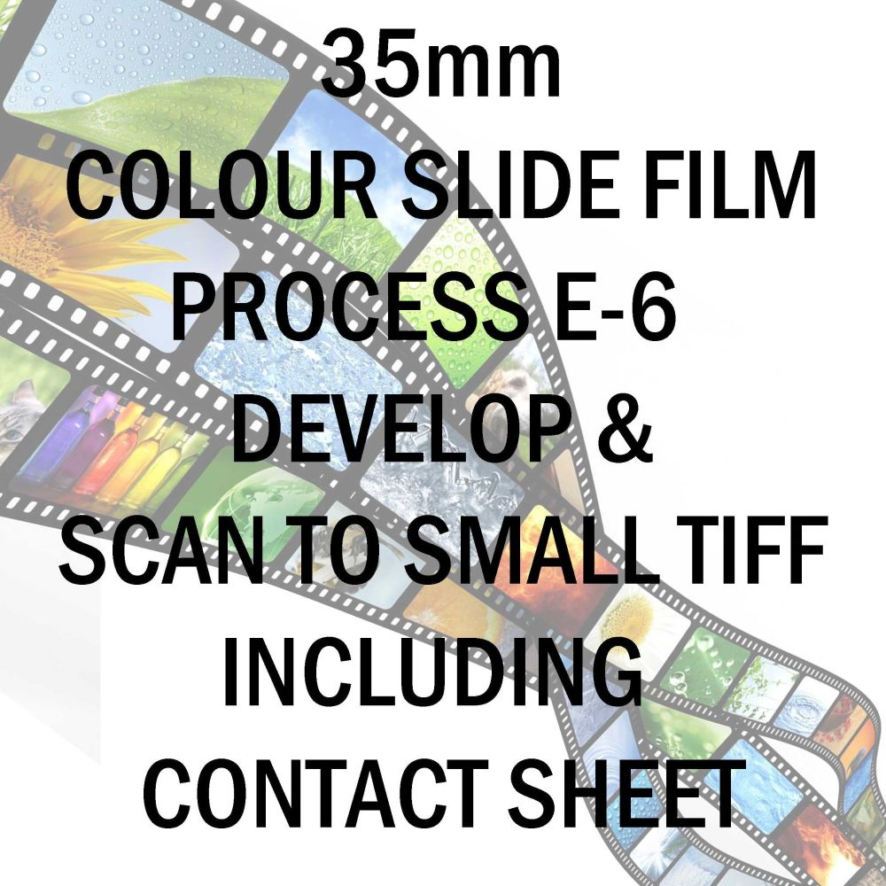 35mm COLOUR SLIDE FILM E-6 DEVELOP AND SCAN SMALL TIFF C-D INCLUDING 10X8 CONTACT SHEET
