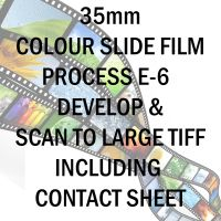 35mm COLOUR SLIDE FILM E-6 DEVELOP AND SCAN TO LARGE TIFF C-D INC 10X8 CONTACT SHEET