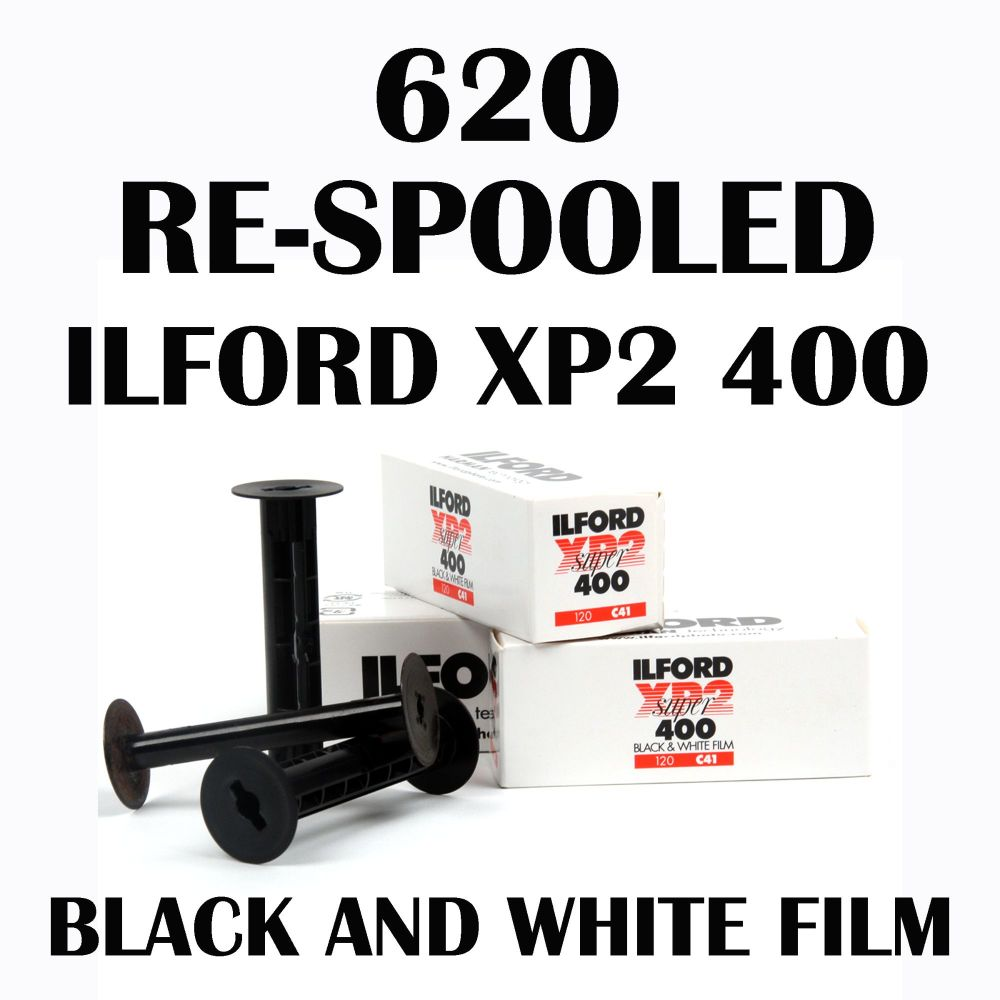 RE-SPOOLED 620 ILFORD XP2 BLACK AND WHITE FILM