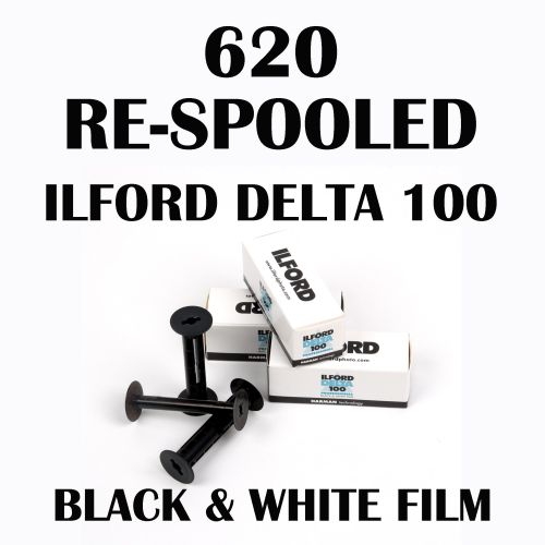 RE-SPOOLED 620 ILFORD DELTA 100 BLACK AND WHITE FILM