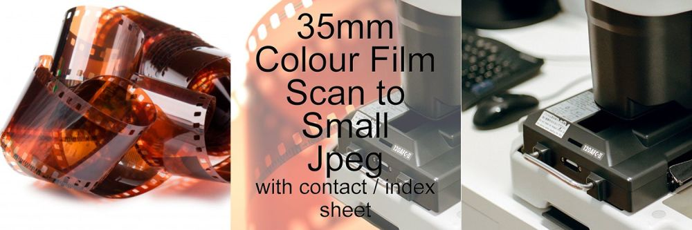 35mm COLOUR FILM PROCESS AND SCAN TO SMALL JEPG inc CONTACT / INDEX SHEET