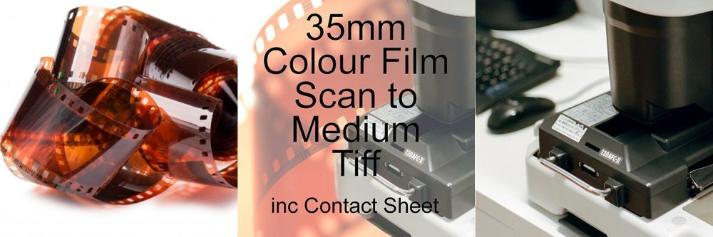 35mm COLOUR FILM PROCESS AND MEDIUM TIFF SCAN INC 10X8 CONTACT SHEET
