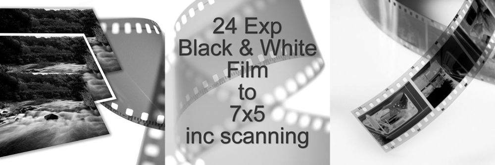 """24 EXPOSURE 35mm B/W D&P TO 7X5"""" with scanning"""