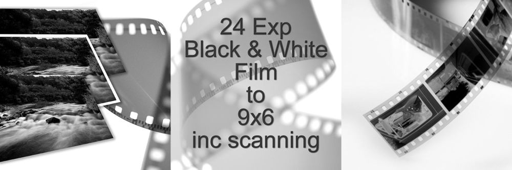 """24 EXPOSURE 35mm B/W D&P TO 9X6"""" with scanning"""