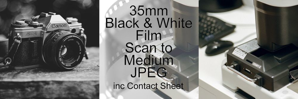 35mm BLACK & WHITE FILM PROCESS AND MEDIUM JPEG SCAN INCLUDING CONTACT