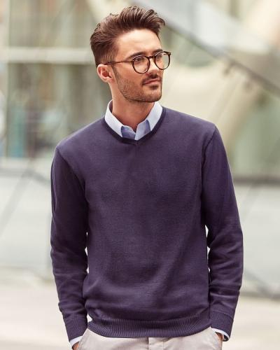 710M Men's V-Neck Knitted Pullover