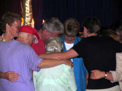 Prayer in huddle