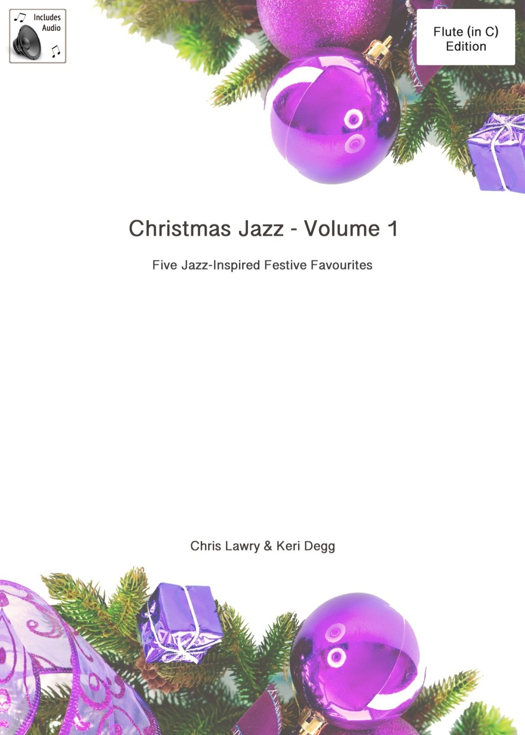 Christmas Jazz for Flute (in C) Volume 1. Printed book/part with audio trac