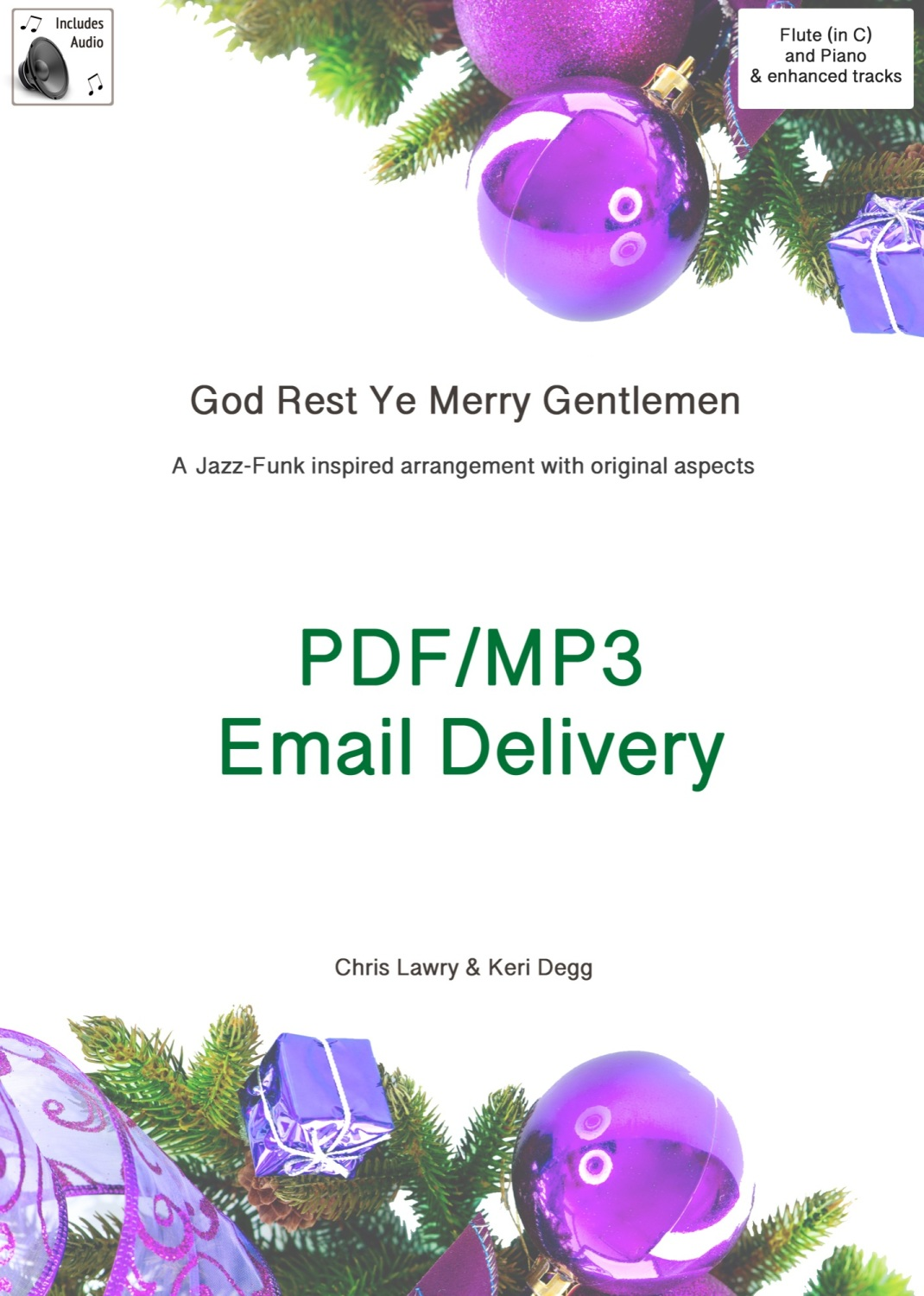 God Rest Ye Merry Gentlemen Jazz inspired arrangement Flute & Piano. PDF/MP