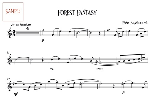 Forest Fantasy Clarinet part sample JPEG