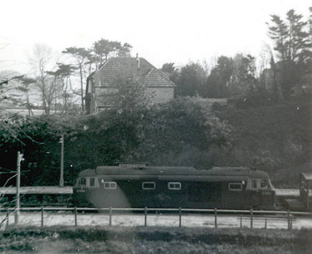 D7090 Goodrington station with freight 1965