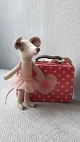 Little Ballerina Mouse in Spotty Tin Suitcase