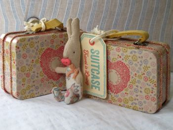 Tiny Flowers Baby Bunny Girl in Flowery Suitcase