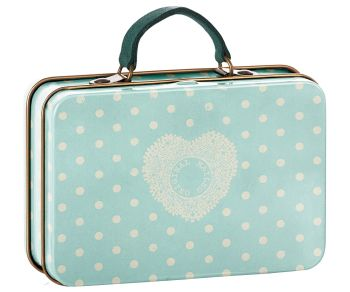 Metal Suitcase, Mint and Dots