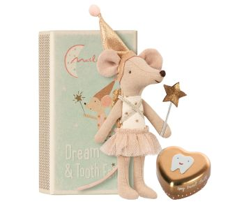 Tooth Fairy Girl Mouse in a Box, with Keepsake Tin