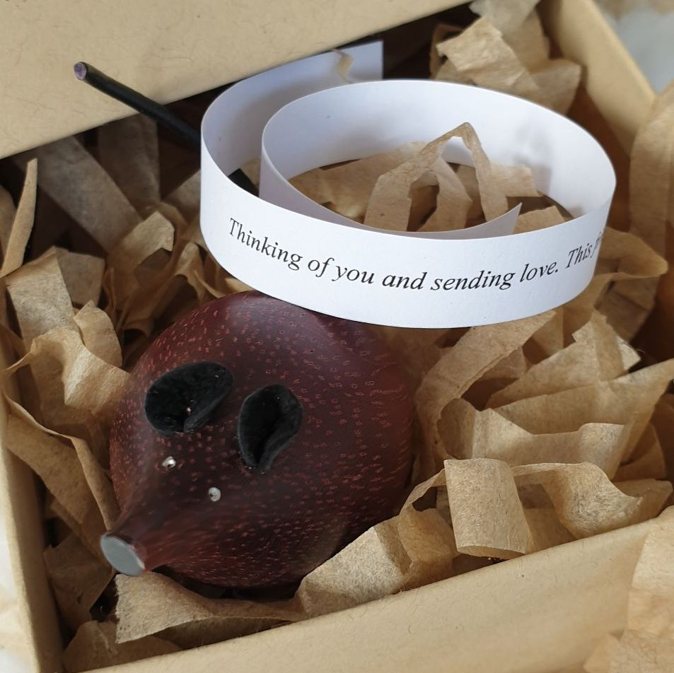 *SPECIAL* Wooden Mouse in a Box with Gift Message - Treacle