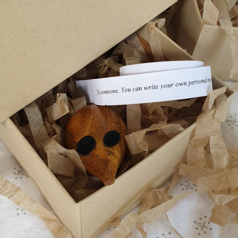 *SPECIAL* Wooden Mouse in a Box - Mulberry