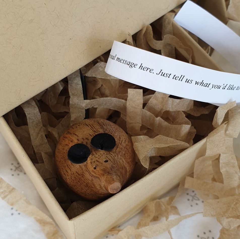 *SPECIAL* Wooden Mouse in a Box - Flecky