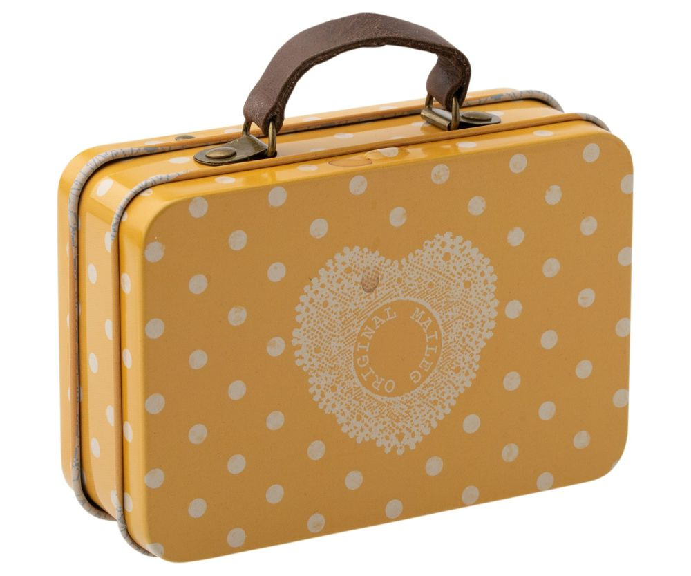 Metal Suitcase, Yellow with White Dots