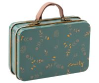 Metal Suitcase, Blue with Pastel Flowers