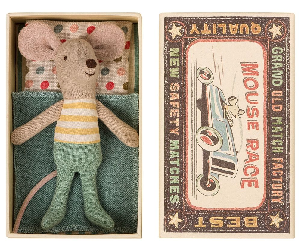 *BACK IN STOCK* Little Spring Green Brother Mouse in a Box