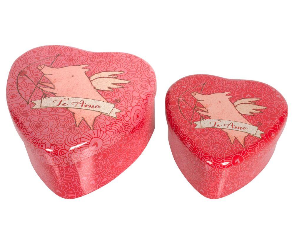 Metal Love Heart Storage Tins