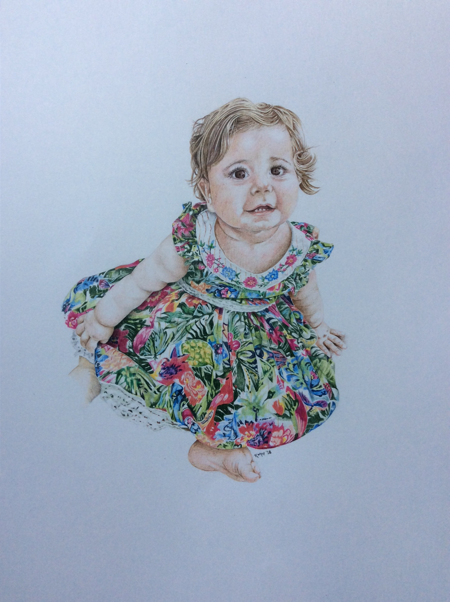 Coloured pencil child portrait