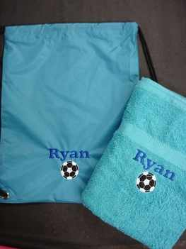 blue towel & bag
