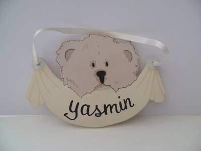 Hanging teddy bear plaque with ribbon