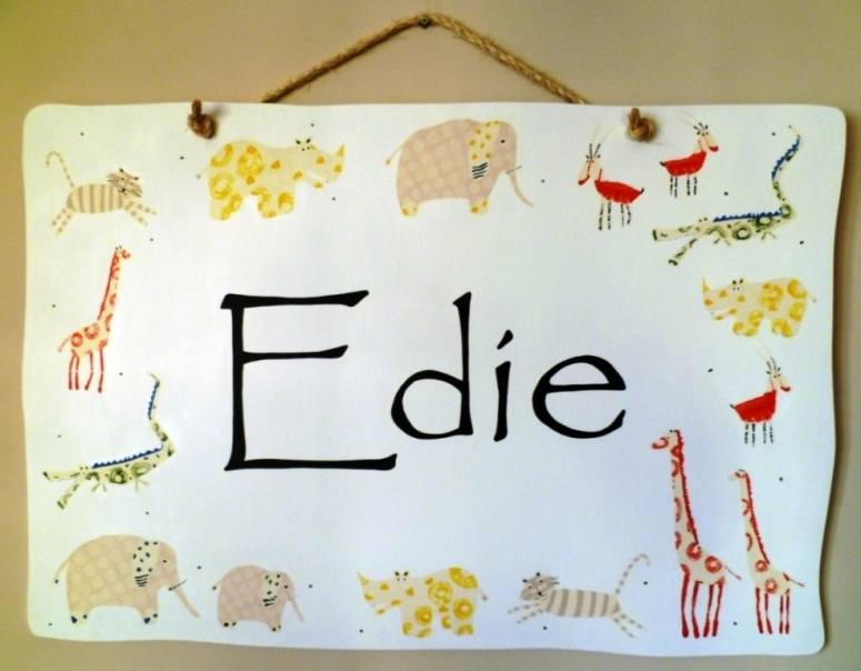 Edies safari nursery plaque