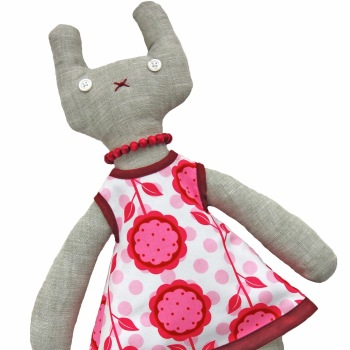 Bunny in Pink Floral Dress