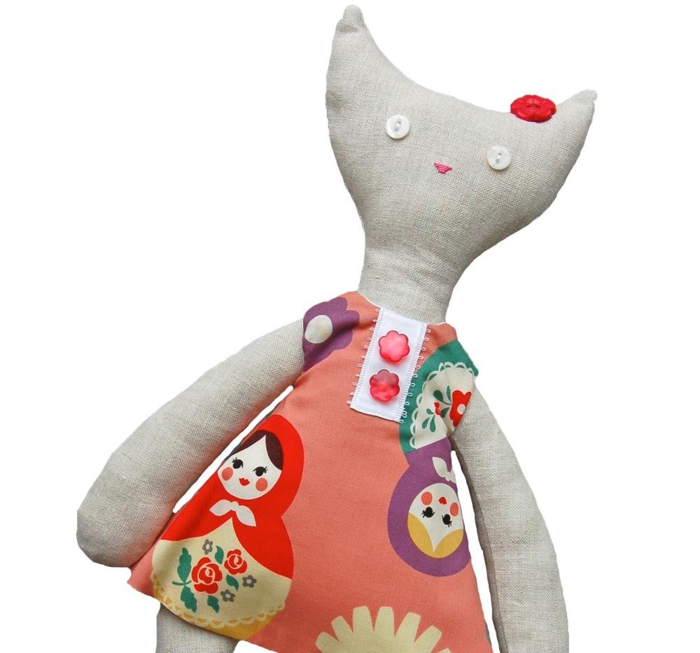 Cat in Pink Russian Doll Dress