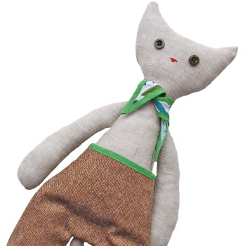 Cat in Tweed Trousers & Green