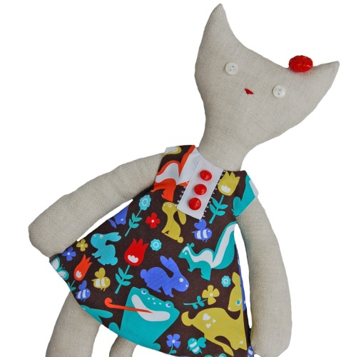 Cat in Bright Animals Dress
