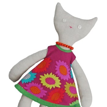 Cat in Bright Pink Flowers Dress