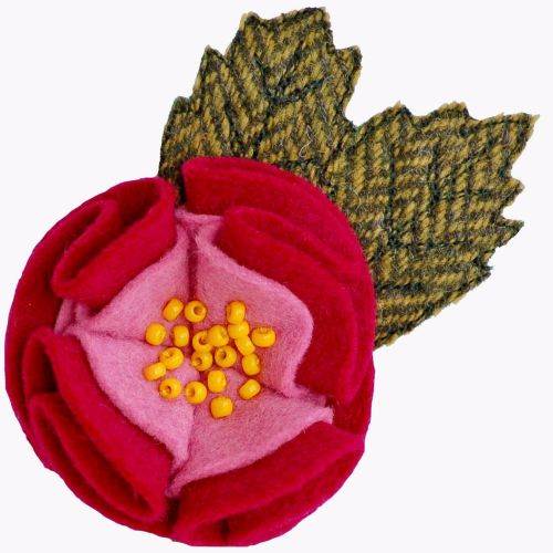 Bright Pink Dog Rose Brooch