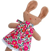 Brown Bunny in Pink Betsy Dress