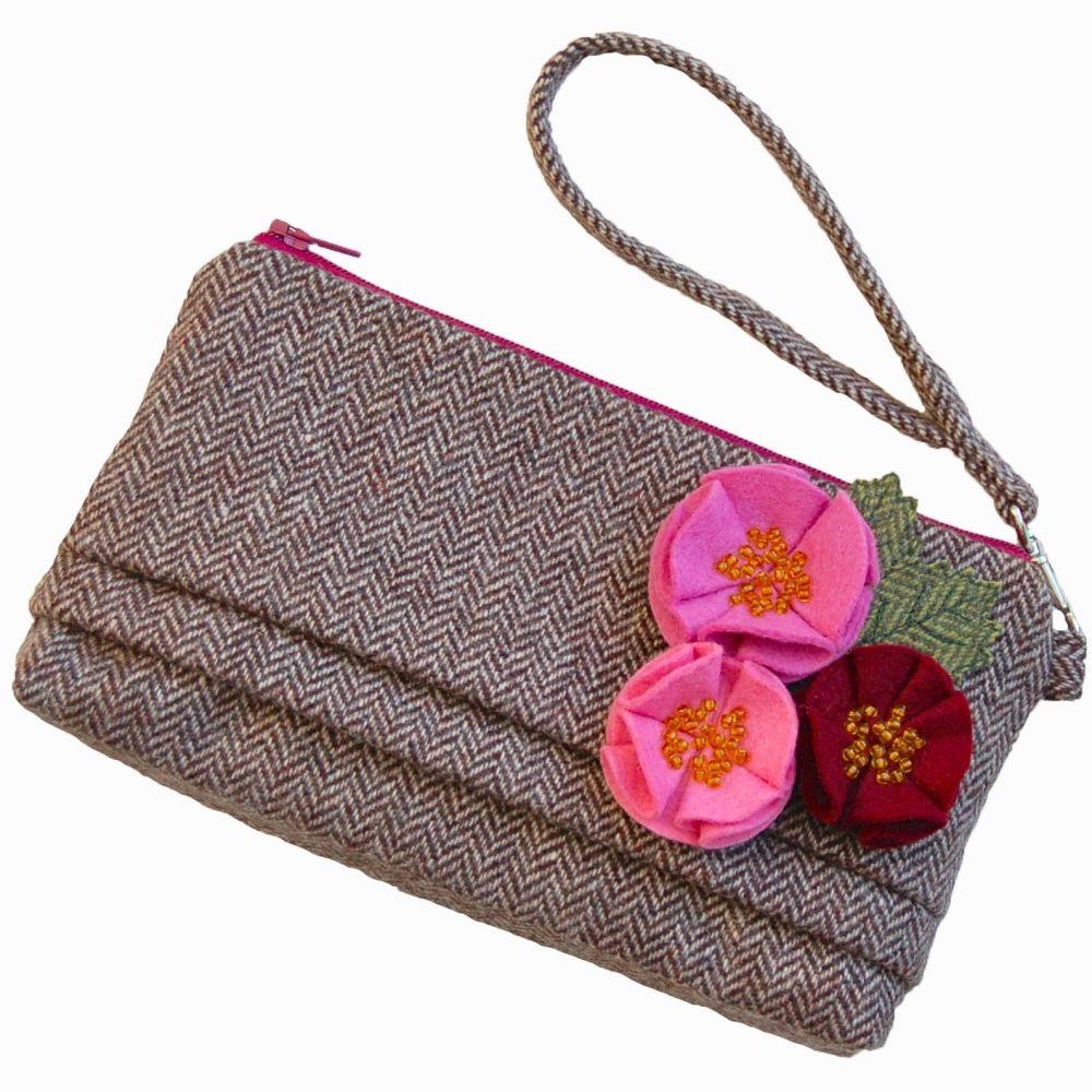 Pink Rose Tweed Purse