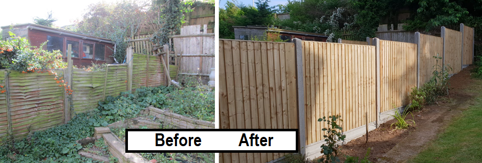 Before and after - closeboard fence up hill