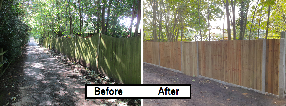 Before and after - closeboard fence