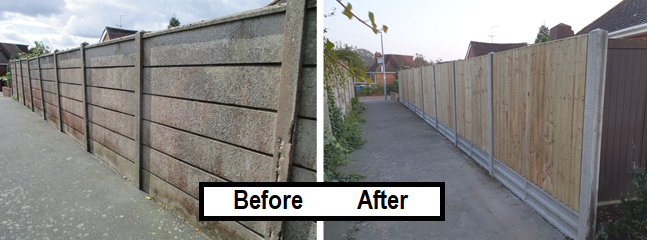 Before and after- closeboard fence (3)