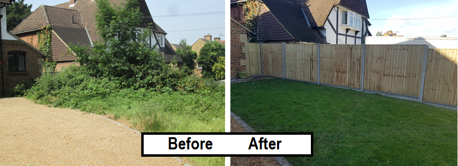 Before and after- closeboard fence