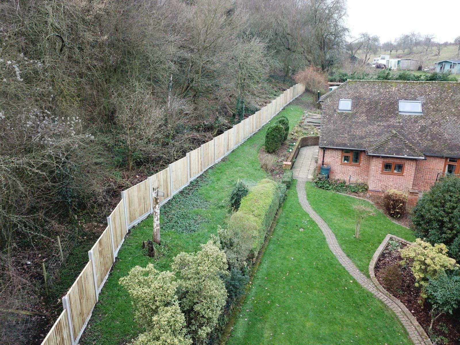 Closeboard fence birds eye view