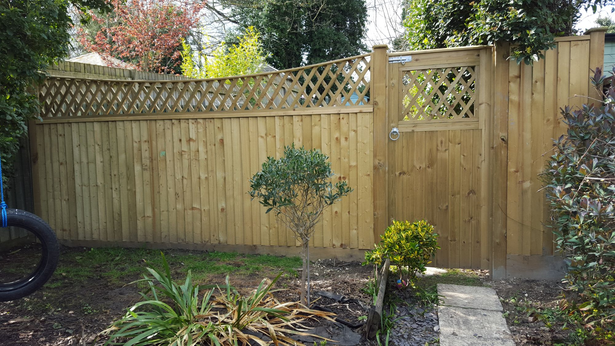 All timber fencing on arris rails with bow top diamond trellis (4)