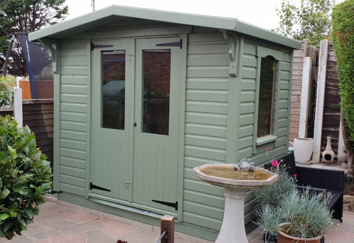 8x5 shed with extras painted soft sage
