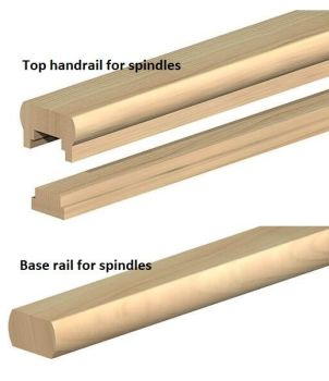Handrail & Base Rail for spindles- 2.4m long