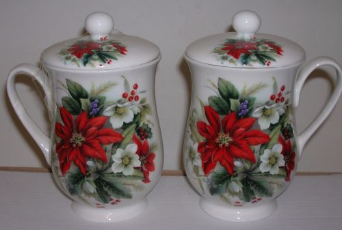 FC007/B Chocolate beaker with lid - poinsettia
