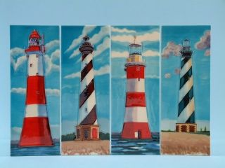 12162 Lighthouse ceramic tile - 4 assorted